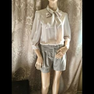 Ted Baker Tan Shorts Pink Blouse Bow Romper